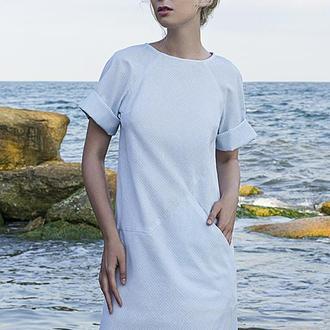 Платье — футболка с карманом на полочке в полоску