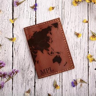"""Обложка для паспорта с гравировкой """"Карта"""""""