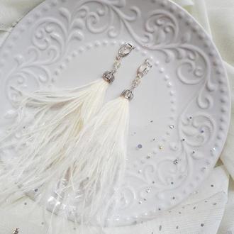 Серьги перья