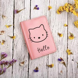 """Обложка для паспорта с гравировкой """"Hello Kitty"""""""