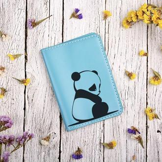 """Обложка для паспорта с гравировкой """"Панда"""""""