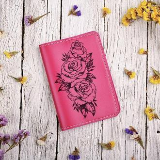 """Обложка для паспорта с гравировкой """"Розы"""""""