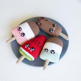Мороженое на палочке (малина, мята, шоколад,арбуз), вязаная игрушка крючком, амигуруми