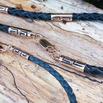 Кожаный шнур с золотыми вставками