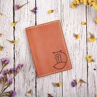 """Обложка для паспорта с гравировкой """"Лисичка"""""""