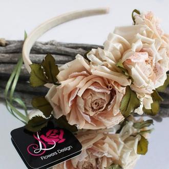 """Ободок з шовковими трояндами """"Джульєтта"""""""