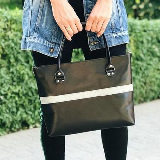 Кожаная сумка Aurora maxi black
