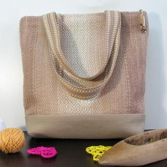 Сумка тканая Твидовый ромб, ручное ткачество