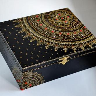 Деревянная шкатулка для украшений Мандала Red Дерев'яна скринька для прикрас Декор для дома