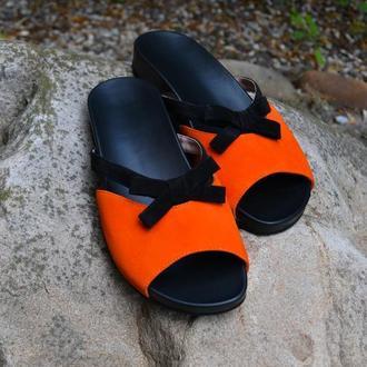 Fibie Orange - Кожаные шлепанцы с ортопедической стелькой и подошвой Vibram