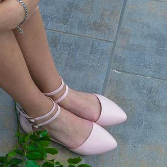 Nude - кожаные балетки