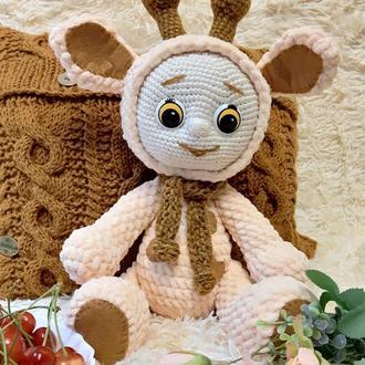 Мягкая плюшевая игрушка ручной работы вязаный пупс в костюме жирафа