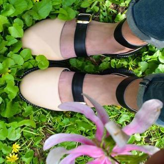 Thea Beige - кожаные сандалии