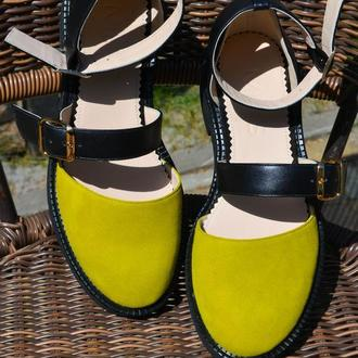 Thea Lime - кожаные сандалии