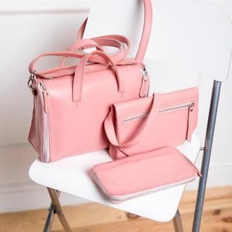 Женская кожаная сумка - органайзер Spich розовая
