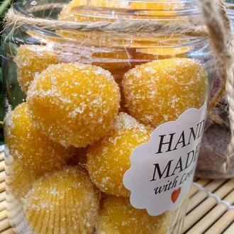 Натуральний цукрово-соляний скраб для тіла ,,Солоденькі кульки,,- Апельсиновий