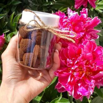 Натуральний цукрово-соляний скраб для тіла ,,Солоденькі кульки,, -Трюфель