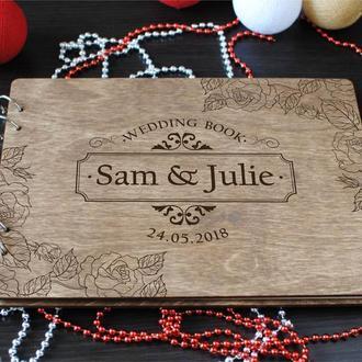 Свадебная гостевая книга из дерева для пожеланий