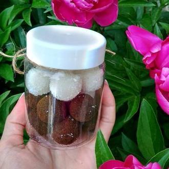 Натуральний цукрово-соляний скраб для тіла ,,Солоденькі кульки,,-Кокосовий
