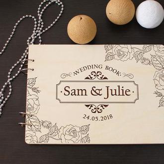 Свадебная книга пожеланий из дерева на заказ