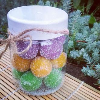 Натуральный сахарно-соляной скраб для тела ,,Сладкие шарики,,-Микс: Лаванда+Апельсин+Чайное дерево