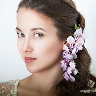 Украшение для прически - цветок глицинии.