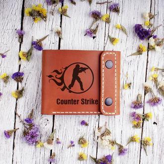 """Кожаный мужской кошелек с Вашей личной гравировкой """"Counter Strike"""""""