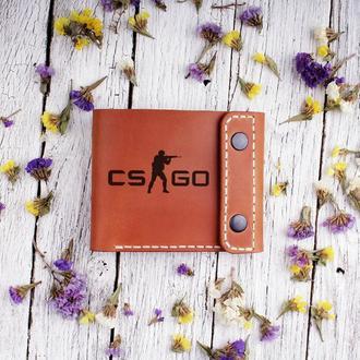 """Кожаный мужской кошелек с Вашей личной гравировкой """"CS GO"""""""