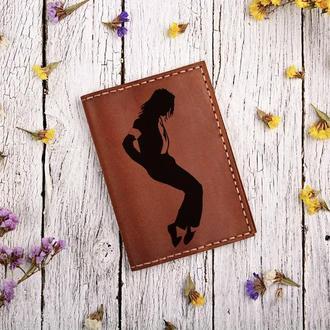 """Обложка для паспорта с гравировкой """"Майкл Джексон"""" """"Michael Jackson"""""""