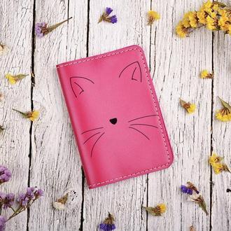 """Обложка для паспорта с гравировкой """"Кошка"""""""