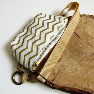 сумка на пояс текстиль золотой шеврон