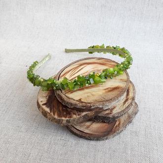 Ободок из натуральных камней салатовый