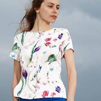 Блузка с принтом цветы и бабочки Pomada