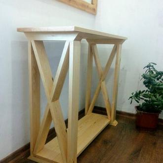Узкий стол -тумба для гостиной. Консоль из натурального дерева.