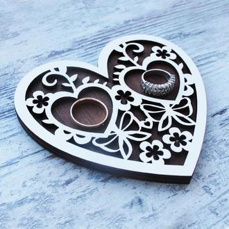 Подставка для колец Ажурное сердце
