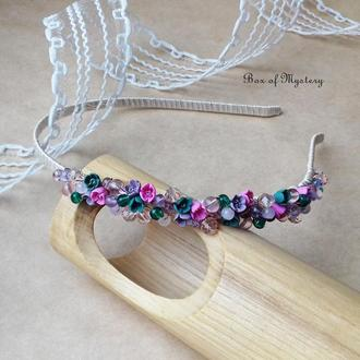 Нежный обруч с цветами, обруч для волос, миниатюрные цветы, подарок девушке
