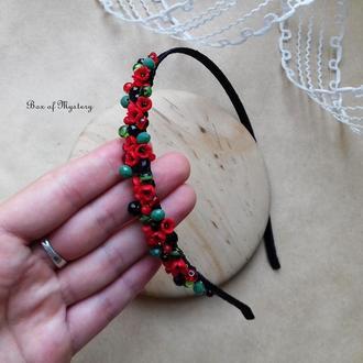 Обруч с красными цветами, обруч для волос, миниатюрные цветы, национальное украинское украшение