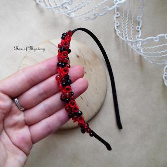 Красно черный обруч с цветами, обруч для волос, миниатюрные цветы, национальное украинское украшение
