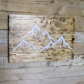 """Панно из натурального дерева """"Горы"""""""