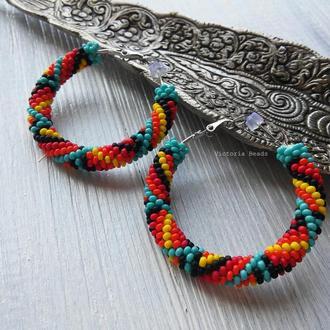 Яркие разноцветные индейские серьги кольца из бисера на каждый день