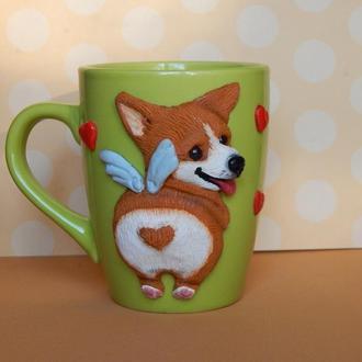 """Чашка с декором  из полимерной глины """"Корги"""".Чашка с собакой.Кружка с собакой."""