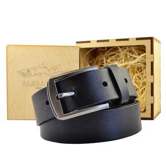 Чёрный ремень 3,5 см. шириной с пряжкой металлического цвета цельная кожа украинского производства