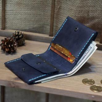 Женский кожаный кошелёк с отделением для монет в морском стиле - Яркое портмоне на лето