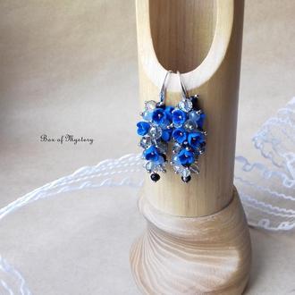 Синие серьги грозди, серьги с миниатюрными цветами, подарок девушке