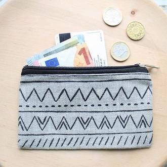 Льняной кошелек с рисунком