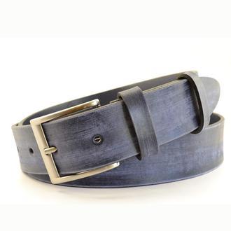 мужской синий итальянский кожаный ремень под джинсы, шорты. Мужской подарок.