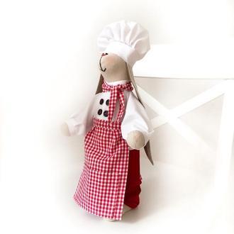 Повар Зайка тильда кондитер кафе ресторан бар подарок кухню подруге игрушка
