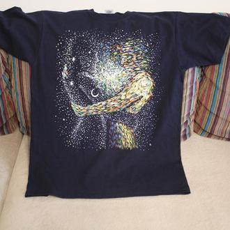 футболка ручная роспись ручний розпис принт космос любов любовь пара йога ручной росписью чакра