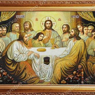 Икона Тайная вечеря из янтаря