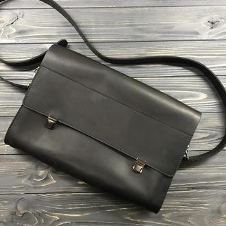 Сумка-портфель для документов из натуральной кожи с портфельными пряжками